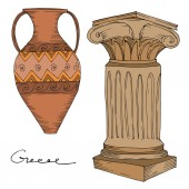 Photo Vector Antique greek amphoras and columns. Black and white engraved ink art. Isolated ancient illustration element.