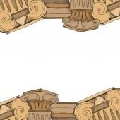 Vektorové antické řecké amfory a kolony. Černobílý rytý inkoust. Ozdobný rámeček rámečku.