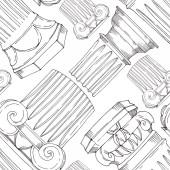 Antik görög vektor oszlopok. Fekete-fehér vésett tinta művészet. Zökkenőmentes háttér minta.