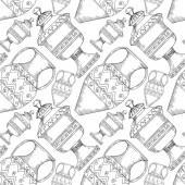 Fotografie Vektorové antické řecké amfory. Černobílý rytý inkoust. Bezproblémové pozadí vzor.