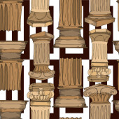 Photo Vector Antique greek columns. Black and white engraved ink art. Seamless background pattern.
