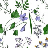 Fotografie Vector Wildflowers floral botanical flowers. Black and white engraved ink art. Seamless background pattern.