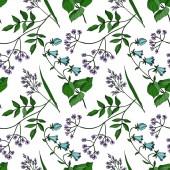 Vektor Wildflowers květinové botanické květiny. Černobílý rytý inkoust. Bezproblémové pozadí vzor.