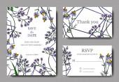 Vektorwildblumen botanische Blumen. Schwarz-weiß gestochene Tuschekunst. Hochzeit Hintergrund Karte dekorative Grenze.