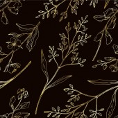 Fotografie Vector Wildflower floral botanical flowers. Black and white engraved ink art. Seamless background pattern.