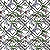 Vektor vadvirág virágos botanikai virágok. Fekete-fehér vésett tinta művészet. Zökkenőmentes háttér minta.