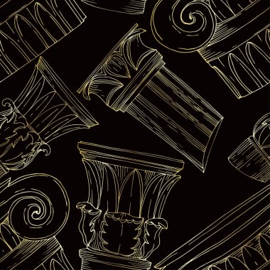 Vector Antique greek columns. Black and white engraved ink art. Seamless background pattern. Fabric wallpaper print texture on white background. clip art vector