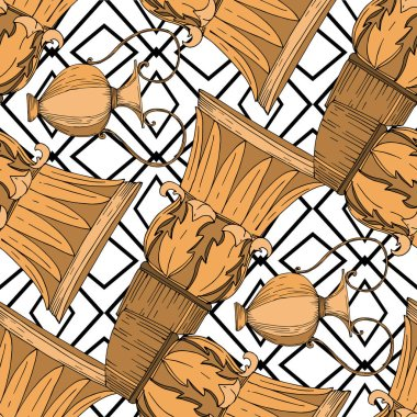 Vector Antique greek amphoras and columns. Black and white engraved ink art. Seamless background pattern. Fabric wallpaper print texture on white background. clip art vector
