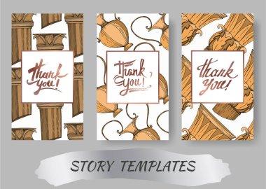 Vector Antique greek amphoras and columns. Black and white engraved ink art. Wedding background card decorative border. Thank you, rsvp, invitation elegant card illustration graphic set banner. clip art vector