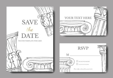 Vector Antique greek columns. Black and white engraved ink art. Wedding background card decorative border. Thank you, rsvp, invitation elegant card illustration graphic set banner. stock vector