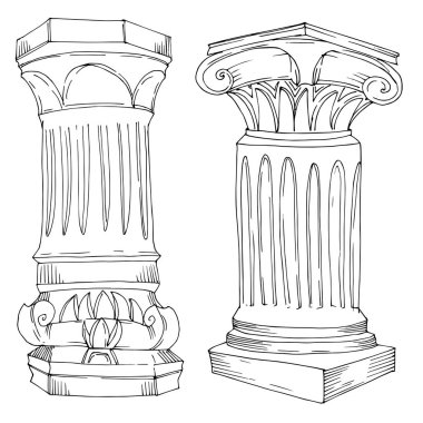 Vector Antique greek columns. Black and white engraved ink art. Isolated ancient illustration element on white background. stock vector