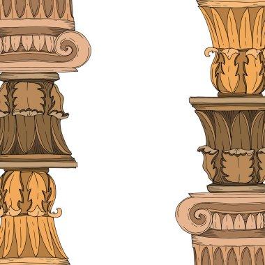 Vector Antique greek columns. Black and white engraved ink art. Frame border ornament square on white background. clip art vector