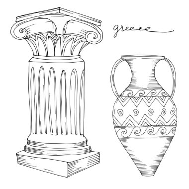 Vector Antique greek amphoras and columns. Black and white engraved ink art. Isolated ancient illustration element on white background. stock vector