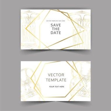 Vector Antique greek amphoras and columns. Black and white engraved ink art. Wedding background card decorative border. Thank you, rsvp, invitation elegant card illustration graphic set banner. stock vector