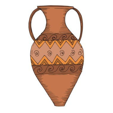 Vector Antique greek amphoras. Black and white engraved ink art. Isolated ancient illustration element on white background. clip art vector