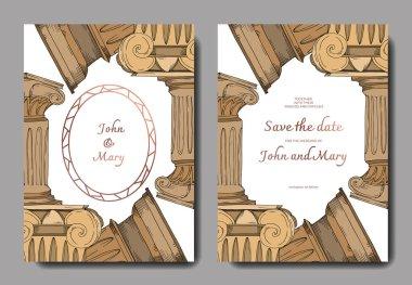 Vector Antique greek columns. Black and white engraved ink art. Wedding background card decorative border. Thank you, rsvp, invitation elegant card illustration graphic set banner. clip art vector