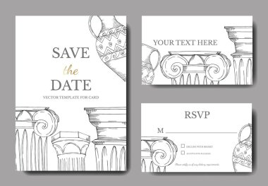 Vector Antique greek amphoras and columns. Black and white engraved ink art. Wedding background card decorative border. Thank you, rsvp, invitation elegant card illustration graphic set banner. clip art vector