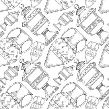 Vector Antique greek amphoras. Black and white engraved ink art. Seamless background pattern. Fabric wallpaper print texture on white background. stock vector