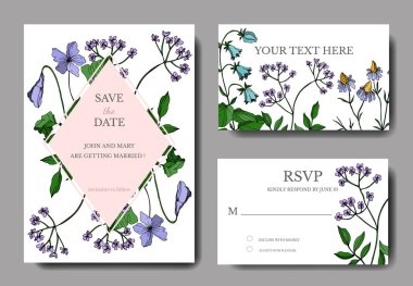 Vector Wildflowers floral botanical flowers. Black and white engraved ink art. Wedding background card decorative border. Thank you, rsvp, invitation elegant card illustration graphic set banner. stock vector