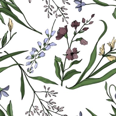 Vector Wildflower floral botanical flowers. Wild spring leaf wildflower isolated. Black and white engraved ink art. Seamless background pattern. Fabric wallpaper print texture. clip art vector