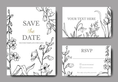 Vector Wildflower floral botanical flowers. Black and white engraved ink art. Wedding background card decorative border. Thank you, rsvp, invitation elegant card illustration graphic set banner. clip art vector