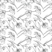 Vector wildflowers floral botanical flowers. Black and white engraved ink art. Seamless background pattern.