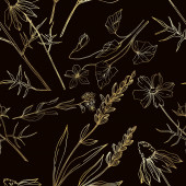 Vector wildflower floral botanical flowers. Black and white engraved ink art. Seamless background pattern.