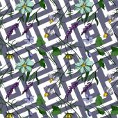 Vektorové květinové květinové botanické květiny. Černobílý rytý inkoust. Bezproblémové pozadí vzor.