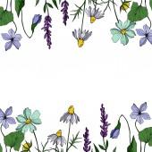 Vector wildflower floral botanical flowers. Black and white engraved ink art. Frame border ornament square.