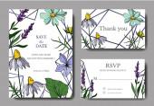 Vector wildflower floral botanical flowers. Engraved ink art. Wedding background card floral decorative border.