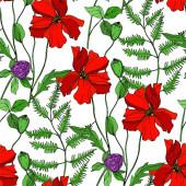 Vektor Vadvirágok virágos botanikai virágok. Fekete-fehér vésett tinta művészet. Zökkenőmentes háttér minta.