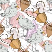 Vektorový ptačí pták v odlehlé přírodě. Černé a bílé ryté inkoustem. Bezespání vzorek pozadí.