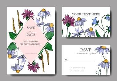 Vector wildflowers floral botanical flowers. Black and white engraved ink art. Wedding background card decorative border. Thank you, rsvp, invitation elegant card illustration graphic set banner. clip art vector