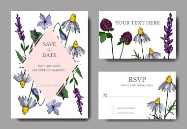Vector wildflower floral botanical flowers. Engraved ink art. Wedding background card floral decorative border. Thank you, rsvp, invitation elegant card illustration graphic set banner. stock vector