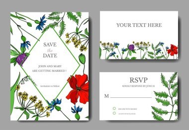 Vector Wildflowers floral botanical flowers. Black and white engraved ink art. Wedding background card decorative border. Thank you, rsvp, invitation elegant card illustration graphic set banner. clip art vector