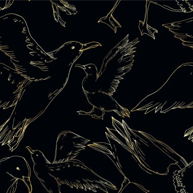 Vector Sky bird seagull isolated. Wild freedom, bird with a flying wings. Black and white engraved ink art. Seamless background pattern. Fabric wallpaper print texture. clip art vector