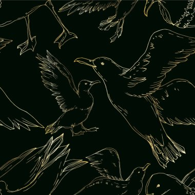 Vector Sky bird seagull isolated. Black and white engraved ink art. Seamless background pattern.