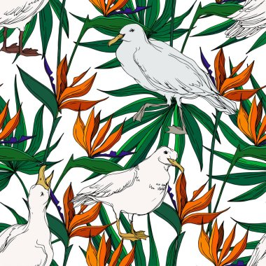 Vector Sky bird seagull in a wildlife. Black and white engraved ink art. Seamless background pattern. Fabric wallpaper print texture on white background. stock vector