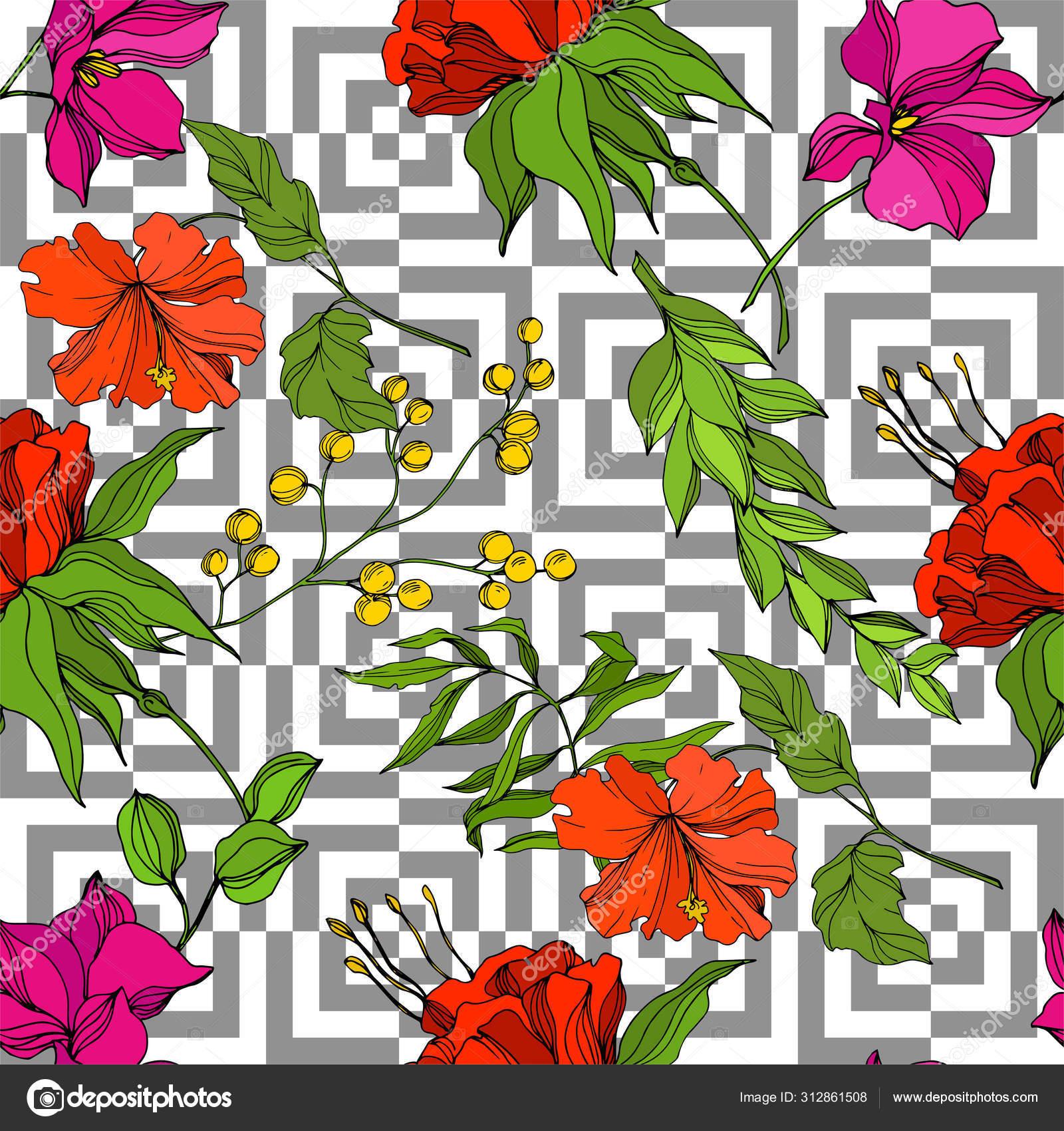 Vector Tropical Floral Botanical Flower Engraved Ink Art