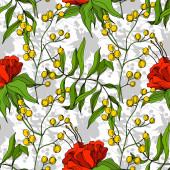 Vektor Tropická květinová botanická květina. Ryté inkoustem. Bezproblémový vzor pozadí. Textilní tapety tiskové textury.