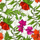 Vektor Trópusi virágos botanikus virág. Vésett tintaművészet. Zökkenőmentes háttér minta. Szövet tapéta nyomat textúra.
