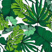 Vector Palm beach tree leaves jungle botanical. Black and white engraved ink art. Seamless background pattern.