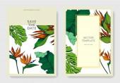 Vektor Trópusi virágos botanikai virágok. Vésett tintaművészet. Esküvői háttér kártya dekoratív határ.