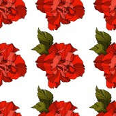 Vector Rose floral botanical flowers. Black and white engraved ink art. Seamless background pattern.