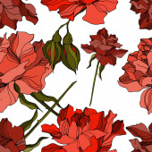 Fényképek Vektor rózsa virágos botanikai virágok. Fekete-fehér vésett tinta művészet. Zökkenőmentes háttér minta.