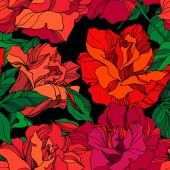 Fotografie Vector Rose floral botanical flowers. Green and red engraved ink art. Seamless background pattern.