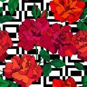 Květinové botanické květiny Vector Rose. Zelený a červený rytý inkoust. Bezproblémové pozadí vzor.