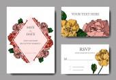 Vector Roses floral botanical flowers. Black and white engraved ink art. Wedding background card decorative border.