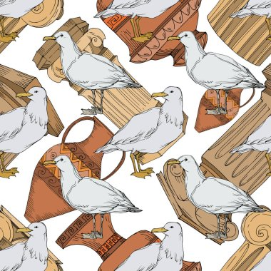 Vector Sky bird seagull in a wildlife. Black and white engraved ink art. Seamless background pattern. Fabric wallpaper print texture on white background. clip art vector