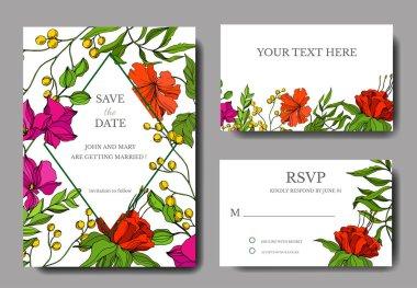 Vector Tropical floral botanical flower. Engraved ink art. Wedding background card floral decorative border. Thank you, rsvp, invitation elegant card illustration graphic set banner. stock vector